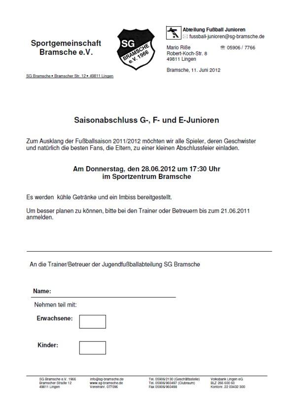 saisonabschluss jugendabteilung sg bramsche einladungen, Einladung